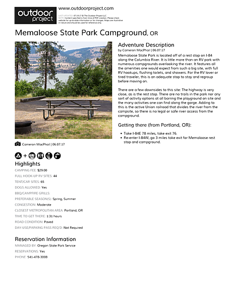 Memaloose State Park Campground Field Guide