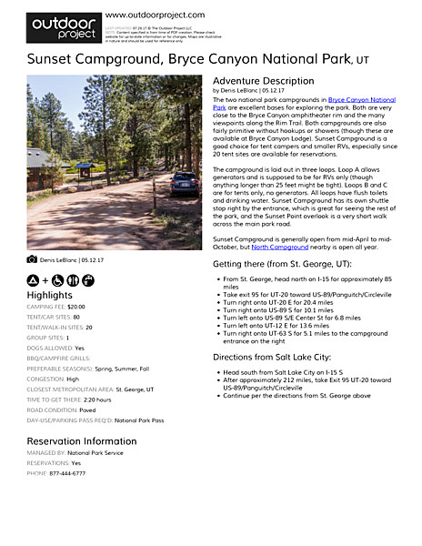 Sunset Campground Field Guide