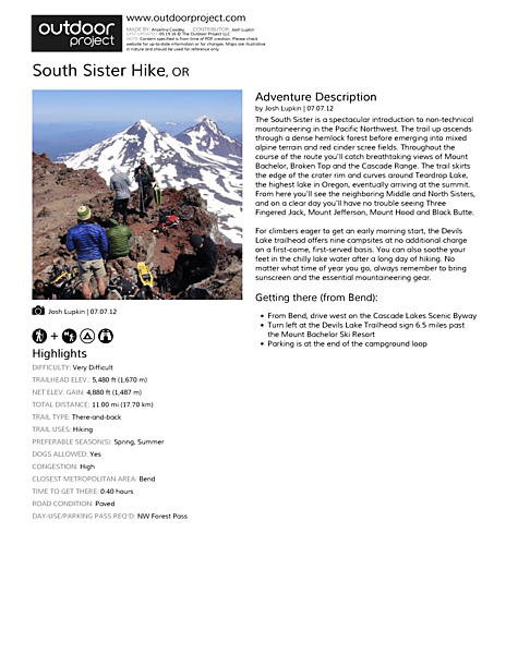 South Sister Hike Field Guide