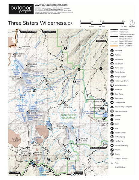 South Sister Hike Trail Map