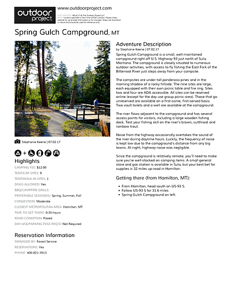 Spring Gulch Campground Field Guide