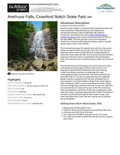 Arethusa Falls Field Guide