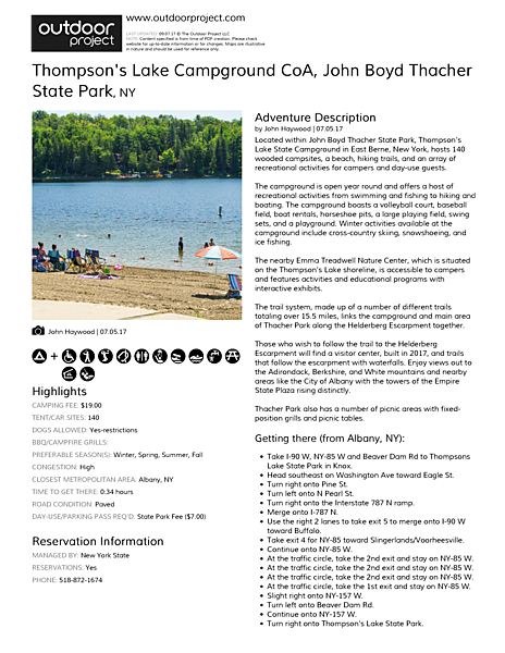 Thompson's Lake Campground Field Guide