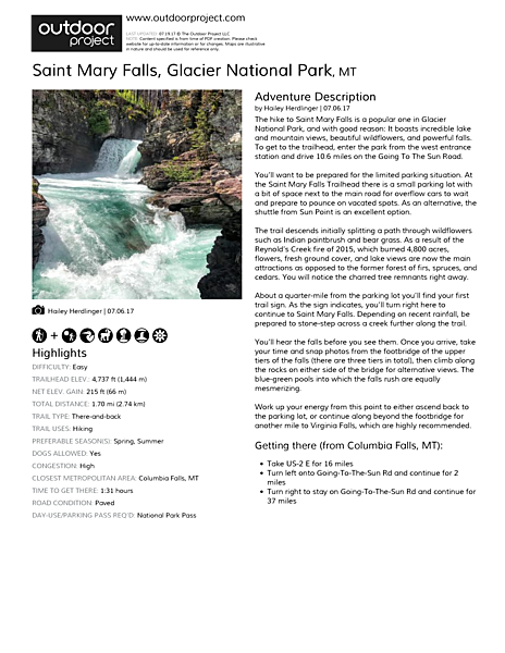 Saint Mary Falls Field Guide