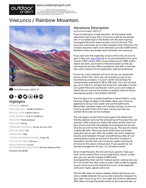 Vinicunca / Rainbow Mountain Field Guide