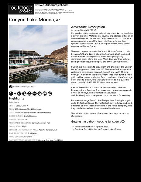 Canyon Lake Marina Outdoor Project