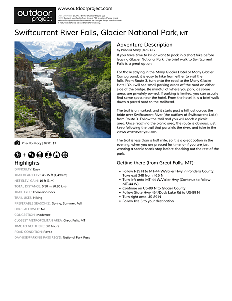 Swiftcurrent River Falls Outdoor Project