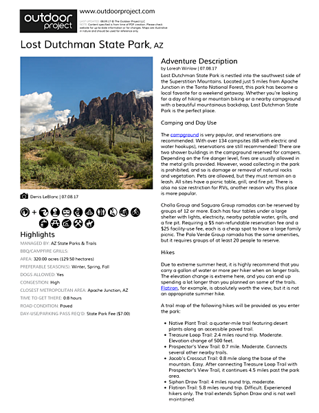 Lost Dutchman State Park Field Guide