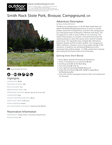 Smith Rock State Park, Bivouac Campground Field Guide