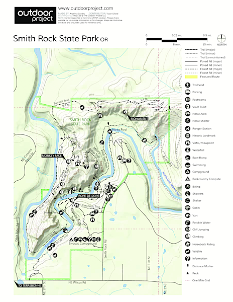 Smith Rock State Park, Bivouac Campground Map