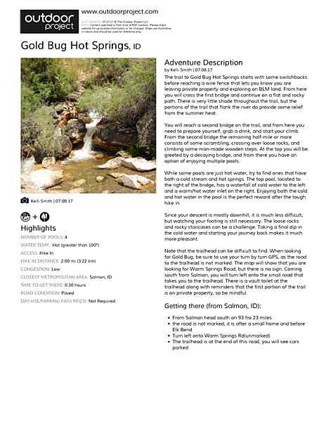 Gold Bug Hot Springs Field Guide
