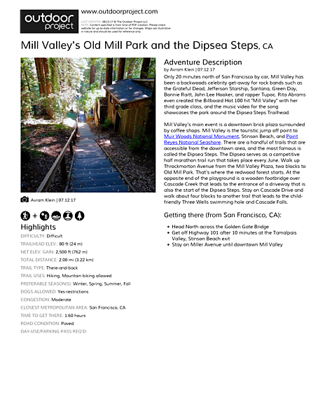Mill Valley's Old Mill Park and the Dipsea Steps Field Guide