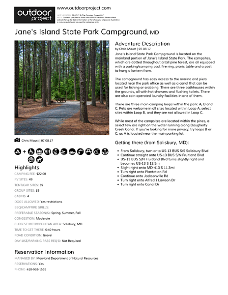 Jane's Island State Park Campground Field Guide