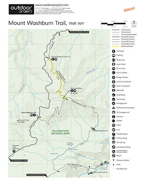Mount Washburn via Chittenden Road Trail Map