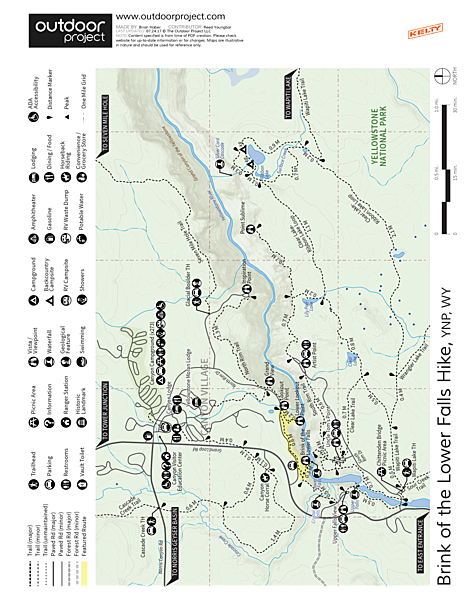 Brink of Lower Falls to Lower Lookout Point Trail Map