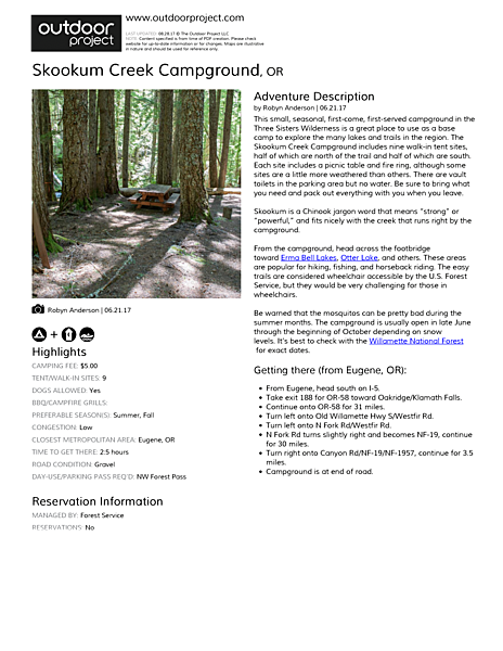 Skookum Creek Campground Field Guide