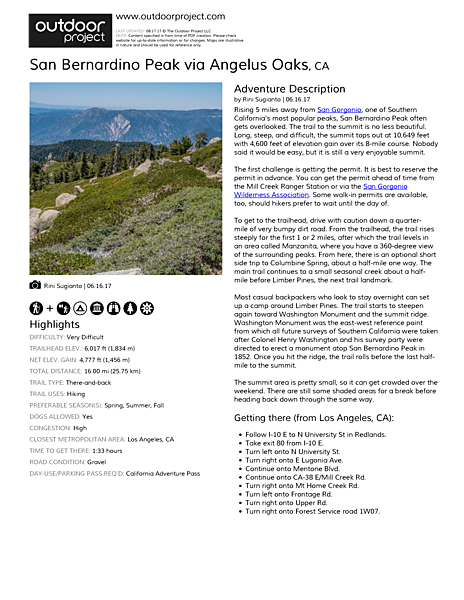 San Bernardino Peak via Angelus Oaks Field Guide