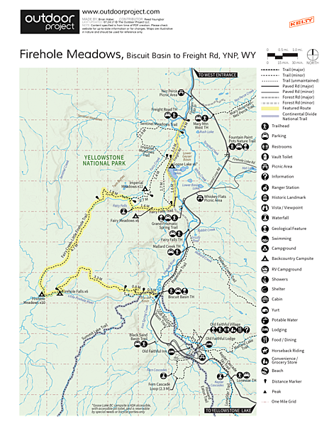 Firehole Meadows: Biscuit Basin to Freight Road Trail Map