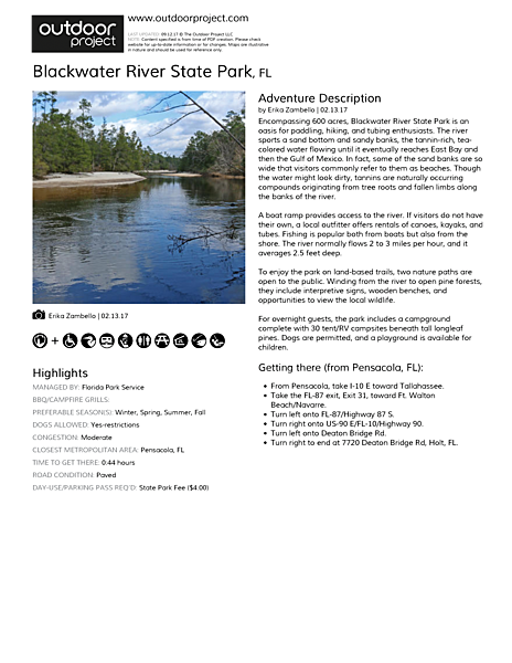Blackwater River State Park Field Guide