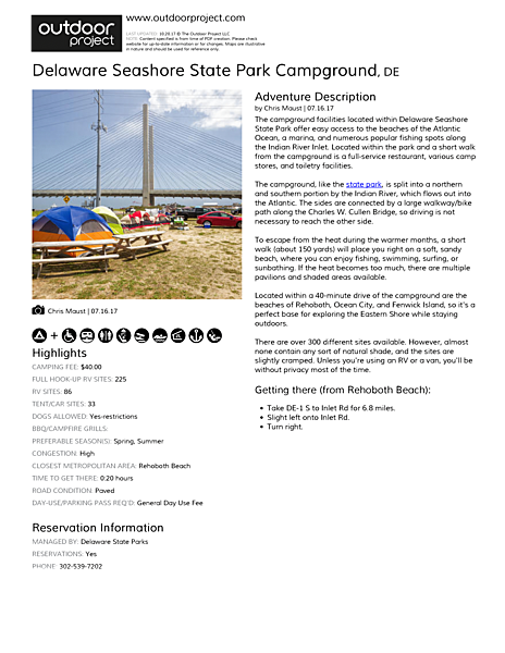 Delaware Seashore State Park Campground Field Guide