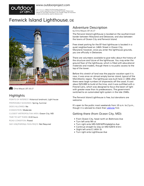 Fenwick Island Lighthouse Outdoor Project - Discontinued lighthouse border