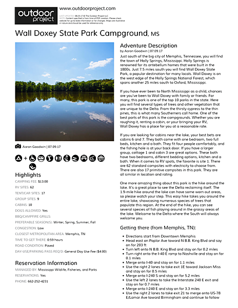 Wall Doxey State Park Campground Field Guide