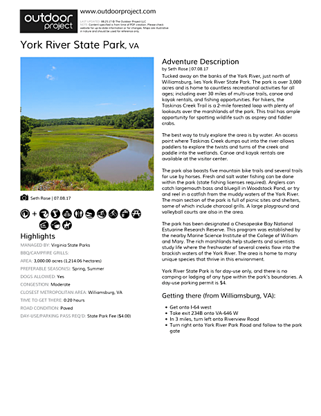 York River State Park Field Guide