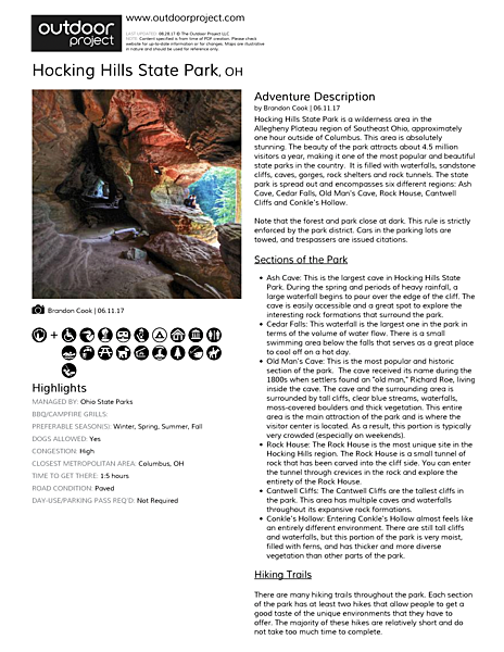 Hocking Hills State Park Field Guide