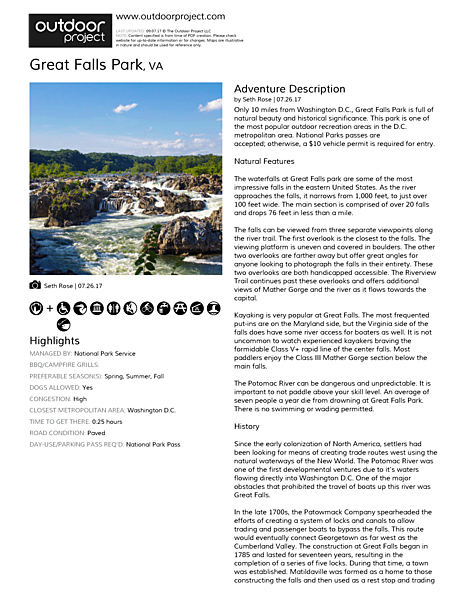 Great Falls Park Field Guide