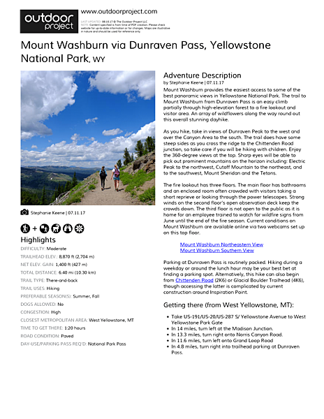 Mount Washburn via Dunraven Pass Field Guide