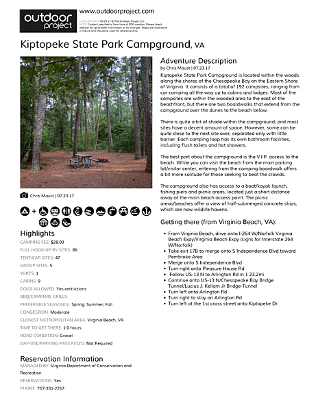 Kiptopeke State Park Campground Field Guide