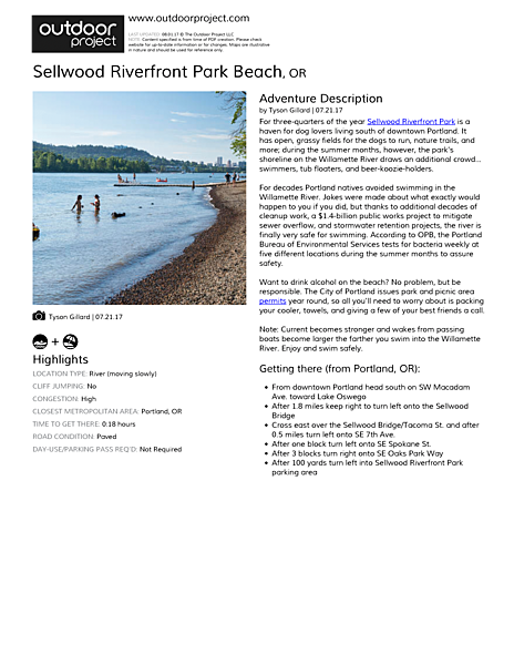 Sellwood Riverfront Park Beach Field Guide