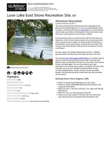 Loon Lake East Shore Recreation Site Field Guide