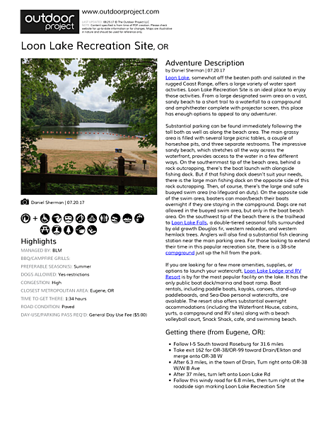 Loon Lake Recreation Site Field Guide