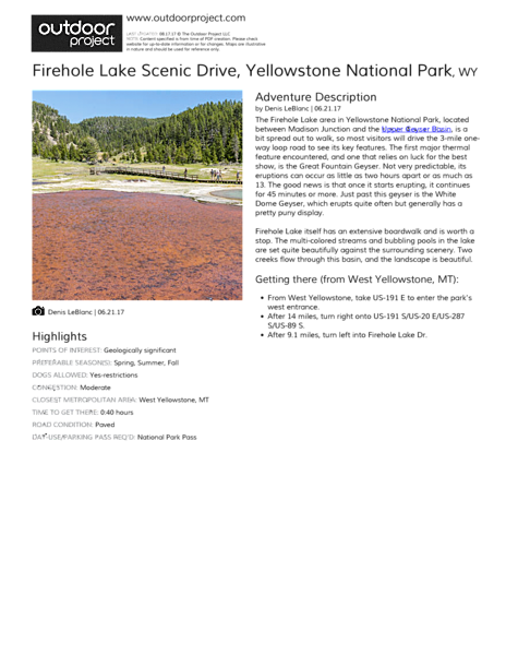 Firehole Lake Scenic Drive Field Guide