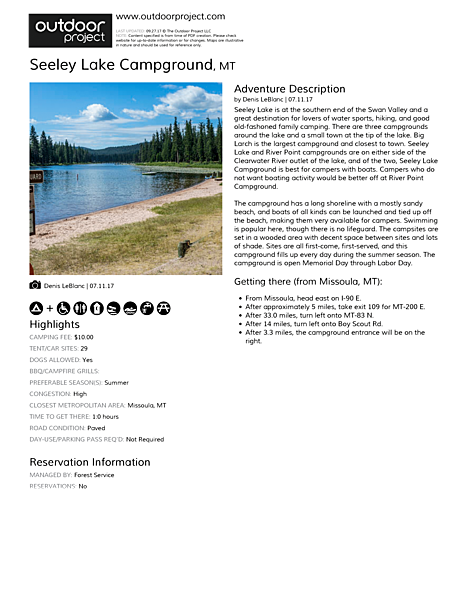 Seeley Lake Campground Field Guide