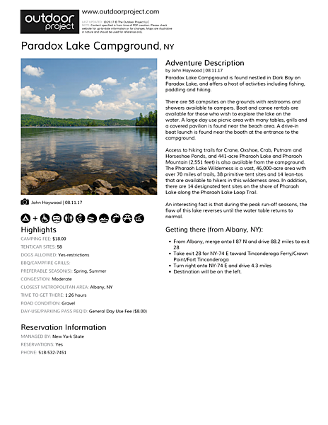 Paradox Lake Campground Field Guide