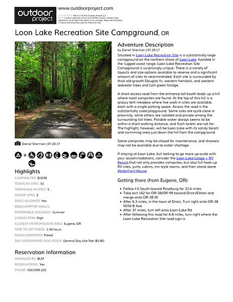 Loon Lake Recreation Site Campground Field Guide