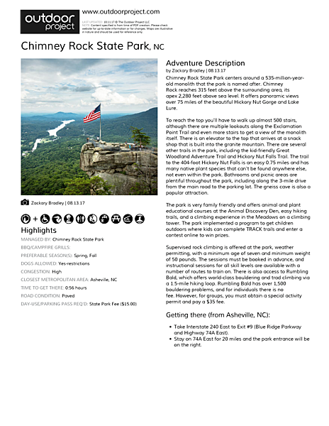 Chimney Rock State Park Field Guide