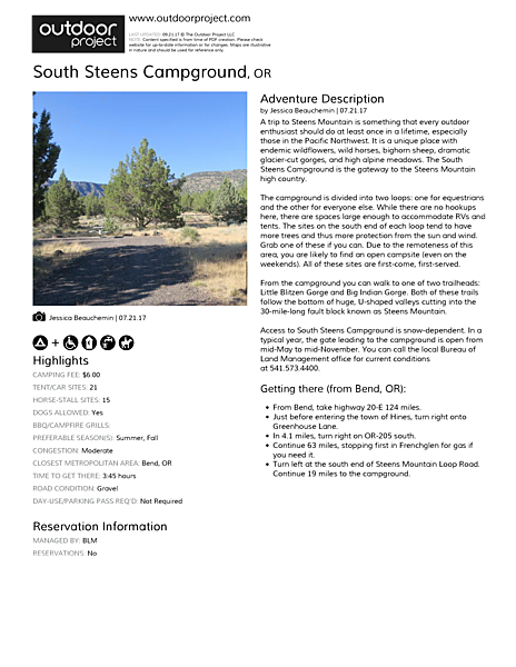 South Steens Campground Field Guide