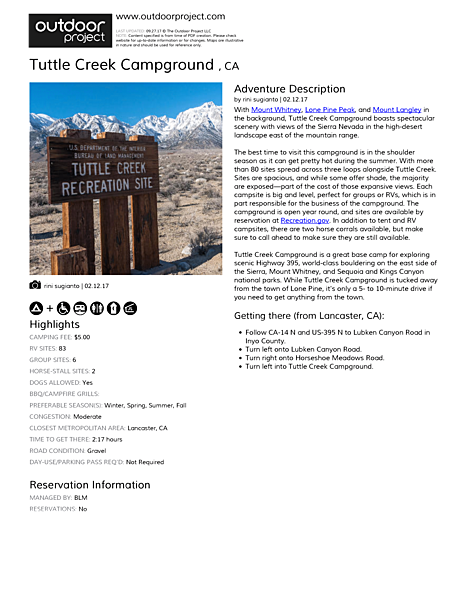Tuttle Creek Campground  Field Guide