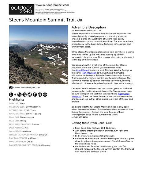 Steens Mountain Summit Trail Field Guide