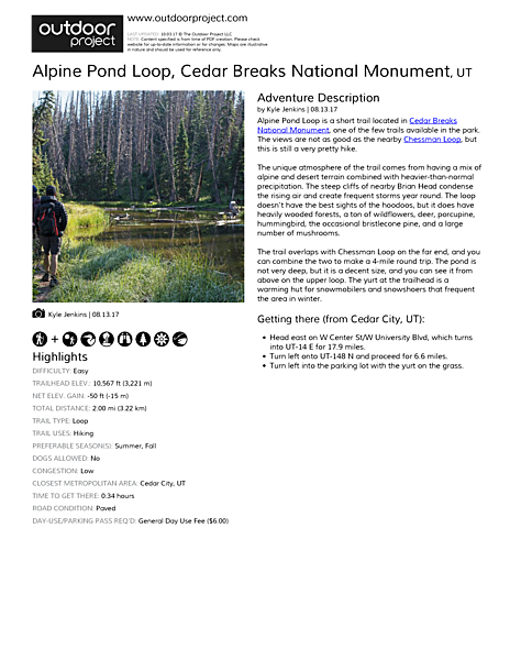 Alpine Pond Loop Field Guide