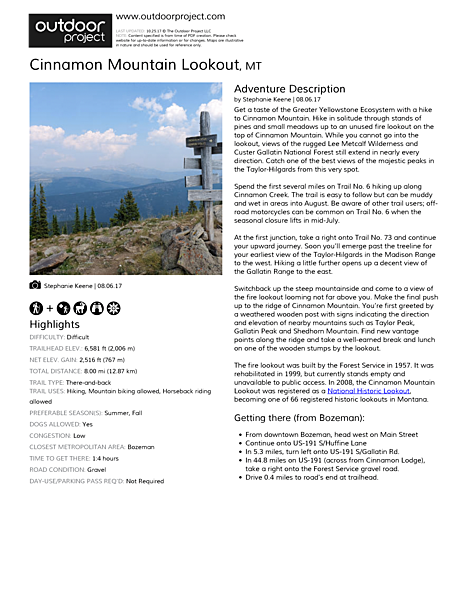 Cinnamon Mountain Lookout Field Guide