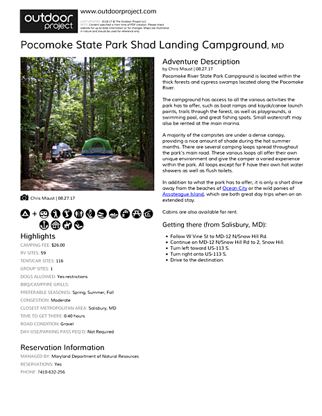 Pocomoke State Park Shad Landing Campground Field Guide