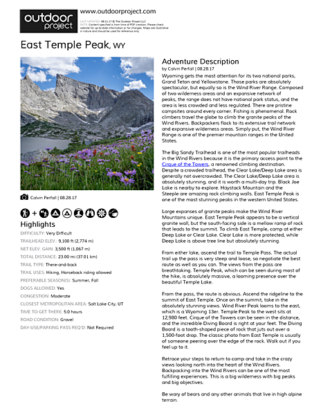 East Temple Peak Field Guide