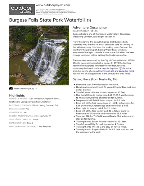 Burgess Falls State Park Waterfall Field Guide