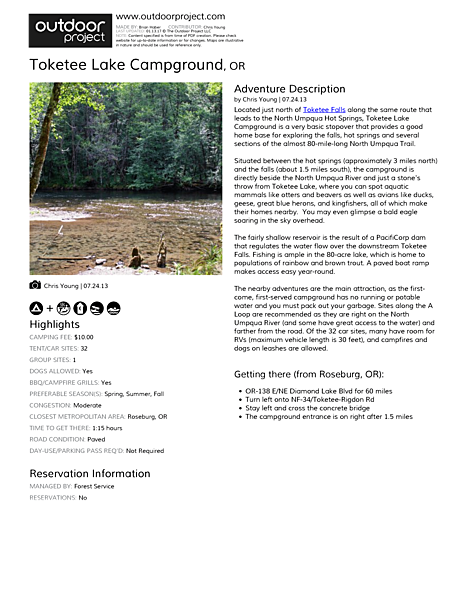 Toketee Lake Campground Field Guide