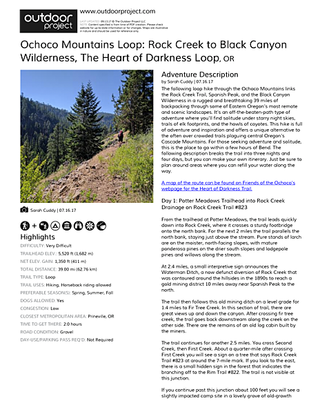 Ochoco Mountains Loop: Rock Creek to Black Canyon Wilderness Field Guide