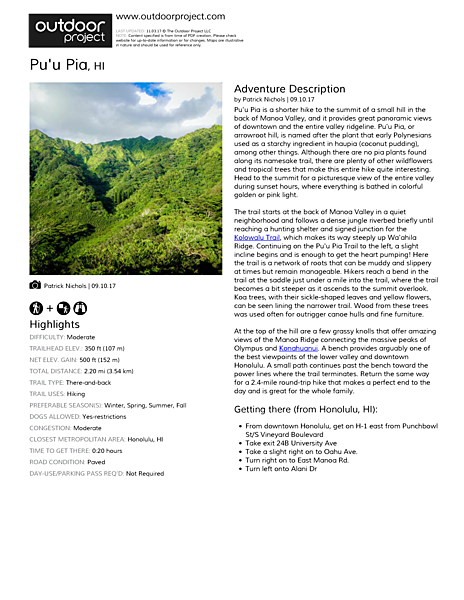 Pu'u Pia Field Guide